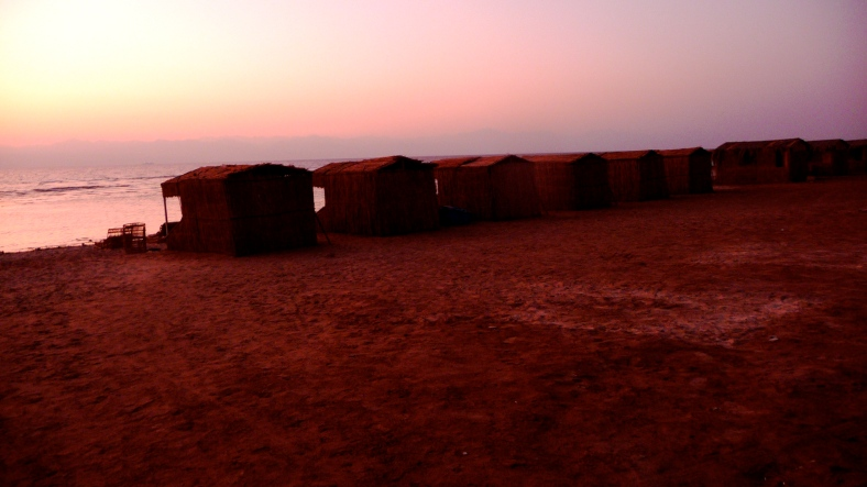 Our huts at 5:30 a.m.