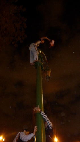 boy climbing a post in Tahrir